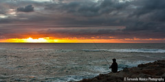 Fisherman @ Costa Nova (Fernando Mónica) Tags: sunset fisherman pôrdosol pescador aveiro 2011 fmonica ©fernandomónica