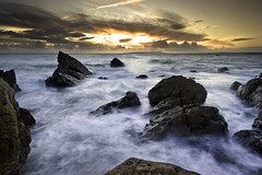 Dungy Head (Tired but Willin) Tags: longexposure sunset sea sun water rocks waves dorest dougchinnery antonyspencer lulworthcave