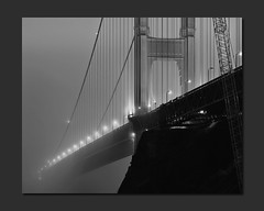 Quest for Fog (RZ68) Tags: bridge blue bw white black film fog night point dawn golden blackwhite gate long exposure baker conversion fort dusk foggy velvia goldengatebridge hour goldengate ft 6x7 provia marinheadlands lyme ggnra disappearing e100 rz68