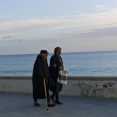 Saturday afternoon walk (pedrosimoes7) Tags: street two portugal walking raw candid duo duet snapshot talking sesimbra streetshot ancianos elderlywoman thecontinuum