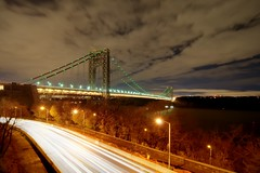 The George Washington Bridge on 11/24/2011 (mudpig) Tags: nyc newyorkcity longexposure bridge light shadow newyork night river geotagged highway traffic dusk manhattan hudsonriver hudson gothamist bluehour georgewashington hdr gwb georgewashingtonbridge lighttrail henryhudson mudpig traffictrail stevekelley stevenkelley