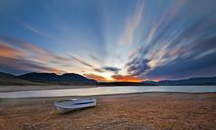 Silent boat (Nick-K (Nikos Koutoulas)) Tags: sunset lake water weather night clouds boat nikon long exposure waterscape    d700 pwpartlycloudy