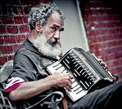 back alley performance (TheWalkinMan) Tags: music alley character perform accordian streetmusician nikonsunglassesscoredatthethriftstore
