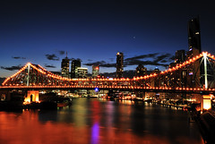 Story Bridge, Brisbane (fredfunk05) Tags: city bridge blue reflection glass skyline architecture night reflections river lights soleil nikon australia brisbane story bluehour storybridge brisbanecity d60 kangaroopoint brisbaneskyline riperian 111eagle brisbanedusk
