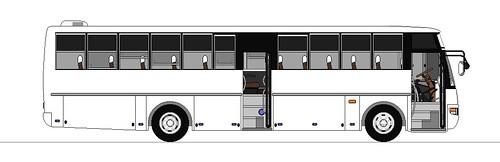 SantaRosa Motorworks Bus Templates · Nissan Diesel SR EXFOH Front Engine  Ordinary Fare