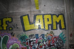 lapm (OrganizedArt) Tags: bridge art minnesota st yellow wall paul graffiti bucket paint room secret gray cities minneapolis twin roller fails hc btr 2011 lapm niggaissilly