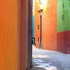 angle on an alley (msdonnalee) Tags: architecture mexico alley explore alleyway architektur mexique mexiko messico callejon narrowalley facciate arqitetura    photosfromsanmigueldeallende larqitecture