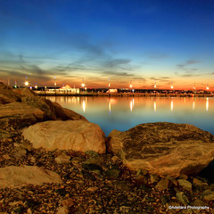 ~Weekend Get-away For My Mind~ (Adettara Photography) Tags: usa reflection water beautiful stone river lights evening harbor hill potomac bluehour adettara nationalharbormdoxon