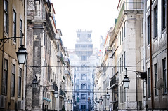 elevation (marin.tomic) Tags: street city travel houses urban mist portugal lamp silhouette facade nikon europe lift view lisboa lisbon elevator lissabon baixa distance portuguese d90 elevadordesantajusta