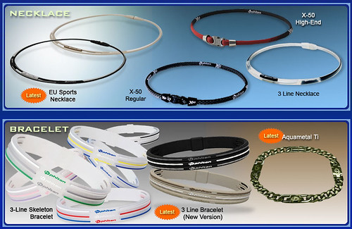 Necklaces & bracelets with the Aquatitan technology are some of the most popular items in the Phiten line