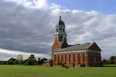 Netley Chapel, Royal Victoria Country Park (nickitson) Tags: park england building brick green history field architecture clouds hospital landscape day cloudy military lawn royal chapel hampshire victoria historic shore dome solent southampton cloudscape netley lx5 nickitson