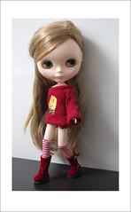 Chloe in red