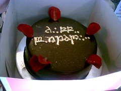 Wicked Chocolate cake iced in ganache with gold piped message & red rose petals (Charly's Bakery) Tags: birthday cake town tv chocolate wicked angels bakery reality cape standard plain affordable charlys