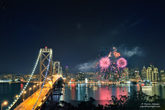 I Left My Heart In San Francisco - New Year's Eve 2012 (Darvin Atkeson) Tags: sanfrancisco california newyears fireworks heart 2012 2011 newyears2012 baybridge suspension bridge bay reflections yerbabuena treasureisland island embarcadero lights cityscape landscape seascape stars citybythebay darv darvin lynneal atkeson liquidmoonlightcom explore explored  light 4th july