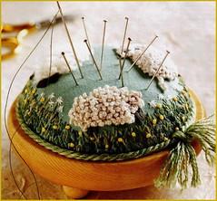Counting Sheep Pincushion (LornaBatemanEmbroidery) Tags: magazine hand sheep stitch embroidery made pincushion textured raised stumpwork