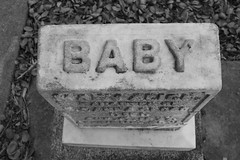 Dead Baby (Ray Tarara) Tags: california baby white black fall monochrome cemetery grave leaves canon woodland death die day child sad outdoor earth ghost monochromatic eerie haunted spooky 55mm gravestone haunting emotional dslr plot t2i 2ti