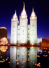 Salt Lake Temple Lights (BartWilliams) Tags: christmas reflection temple christmaslights saltlakecity templesquare lds thechurchofjesuschristoflatterdaysaints ldstemple saltlakecitytemple bartwilliams