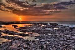 Sunset at at Pu`uhonua o Honaunau (Yinghai) Tags: sunset sea orange cloud beach rock island volcano hawaii burning tropical bigisland hdr