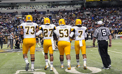 West Captains Walk to Midfield for Coin Toss (goarmyphotos) Tags: sanantonio army captains grant lakes kansascity sacramento cointoss lakewood highschoolfootball alamodome downey coinflip parkhil allamericanbowl jabariruffin zachbanner shaqthompson ondrepipkins