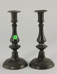 88. Antique Pewter Candlesticks