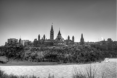 Canadian Parliament B&W HDR (The_Milky_Way) Tags: winter bw snow ontario canada canon rebel artgallery ottawa parliament xs hdr