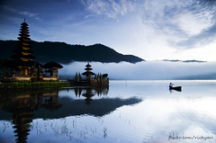 Morning Scenery at Beratan Lake (Ricky Nugraha) Tags: morning bali lake temple boat fisherman scenery pura kuning danu candi beratan