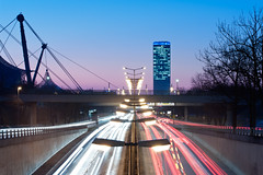 Group.Flow (daitoZen) Tags: street city blue light red urban motion lamp car germany munich mnchen flow golden evening europe traffic symmetry trail hour munchen muenchen georgbrauchlering