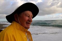 THE OLD MAN AND THE SEA (marsha*morningstar) Tags: sea man yellow fisherman waves florida raincoat atlanticocean slicker hobesound sunrisehobesound