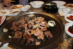 Korean BBQ (Apprecie) Tags: birthday food hot chicken mouth asian fire cuisine restaurant asia raw flavor yum rice sauce beef cook bbq korea fresh meat roast gourmet celebration delicious pork korean barbecue bday onion meats seasoning koreans