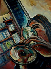 Trumpeting the Pinot (The Big Jiggety) Tags: portrait art glass painting wine retrato kunst peinture oil vin tableau pintura vino 2012 huile wein cuadro oleo mmxii