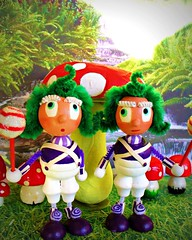 Oompa Loompas (judibird) Tags: wood art toy doll handmade willywonka oneofakind ooak craft dot oompaloompa whimsical chenille vintagestyle pipecleaner charliethechocolatefactory