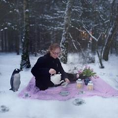 364 of 365 (Morphicx) Tags: light snow cold girl dutch forest penguin tea bokeh freezing paula daniela teapot canon5d lantern 365 teaparty canon50mmf14 project365 pooring morphicx brenizermethode