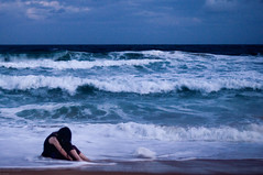 (danielle kiemel) Tags: ocean sea summer portrait people beach me girl youth outdoors evening solitude photographer tide young australia nsw bluehour february centralcoast emotive 50mmf14 2012 wamberal daniellekiemel wamberalbeach nikond5000