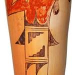 """<b>Hope/Tewa Cylindrical Jar, Polychrome</b><br/> Rena Leslie """"Hopi/Tewa Cylindrical Jar, Polychrome"""" Earthenware, n.d. LFAC # 2003:12:06<a href=""""http://farm8.static.flickr.com/7150/6852265483_72df8b87bd_o.jpg"""" title=""""High res"""">∝</a>"""