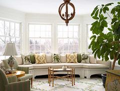 """Sunroom with built in custom curved banquette • <a style=""""font-size:0.8em;"""" href=""""https://www.flickr.com/photos/75603962@N08/6853426121/"""" target=""""_blank"""">View on Flickr</a>"""