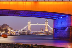 Two for one (Umbreen Hafeez) Tags: city uk bridge blue light england london tower water thames night river dark twilight europe long exposure cityscape tide low hour gb bankside
