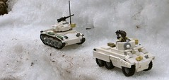 M8 Greyhound Preview/Battle of the Bulge #1 (Tomcat Bobcat) Tags: world winter light 2 greyhound white snow car 1 fight war tank lego picture gear battle m8 ww2 combat armored bulge chaffee warfare m24 brickarms