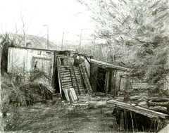 Mystery Shed, Rossendale (larosecarmine) Tags: urban art sketch drawing shed johnson caroline documentary charcoal reportage rossendale