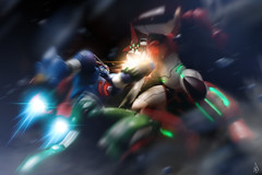Getter War (Poommelo) Tags: toy digitalart getter toyphotography superrobot revoltech