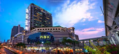 MBK (akimesto) Tags: city longexposure travel bridge blue light sunset red sky urban panorama colour building skyline architecture night clouds zeiss photoshop wow landscape thailand twilight colorful asia long exposure flickr cityscape nightscape outdoor bangkok sony air landmark structure infrastructure land mbk a7 klong skycraper lightroom maboon