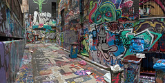 Alley Art 02 (brentflynn76) Tags: street city urban panorama color colour art graffiti design alley colorful paint panoramic bin lane colourful