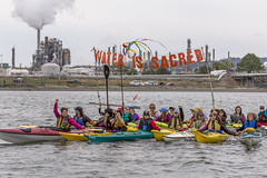 HQ v2 Water is Sacred during Indigenous Day Flotilla at Break Free PNW 2016 Photo taken by John Duffy 27104327095_0f436cb2c9_o (Backbone Campaign) Tags: water justice washington energy kayak break action politics protest creative paddle shell free social demonstration oil change wa environment activism anacortes campaign pnw refinery climatechange climate tesoro artful backbone renewable refineries 2016 kayaktivist kayaktivism breakfreepnw