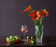 May (Maryam Buzaladze) Tags: life orange plant flower water glass fruit canon cherry eos 50mm spring still berry warm indoor pot 10d naturemorte