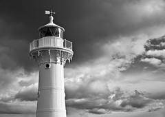 (mblaeck) Tags: blackandwhite bw lighthouse monochrome weather architecture clouds outside blackwhite outdoor column badweather wollongong wollongongharbour breakwaterlighthouse wollongongbreakwaterlighthouse