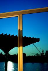 reflexion (misone2000) Tags: blue light sun berlin window fenster hour ufer spree metall reflexion kran friedrichshain spiegelbild rahmen misone2000
