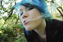 * (Acid Trip Love Story) Tags: mist girl woods smoke smoking