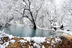 Icy Pond (nawapa) Tags: china travel winter snow pool yellow river landscape pond dragon view scenic historic songpan sichuan huanglong calcite 2011 nawapa