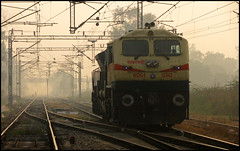 Sabarmati WDG-4 #12343 (Ankit Bharaj) Tags: new morning india mist station fog yard speed canon early is high diesel delhi indian low engine goods rake locomotive 100 railways freight visibility ankit sx sbi shunting emd sabarmati irfca electromotive bharaj wdg4 boxn shakurbasti