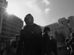Mr Kamikaze (Peter Bellars) Tags: bw sun sunshine tokyo shinjuku smoking smoker ricoh sunbeam keio odakyu grd grd3 grdiii
