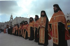 Greek orthodox clergy waiting for their patriarch